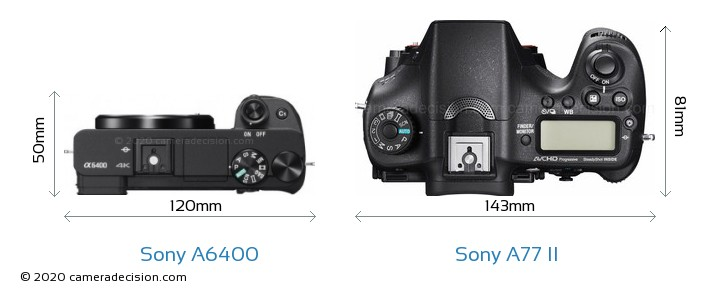 Sony A6400 vs Sony A77 II Camera Size Comparison - Top View