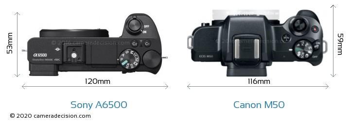 Sony A6500 vs Canon M50 Camera Size Comparison - Top View