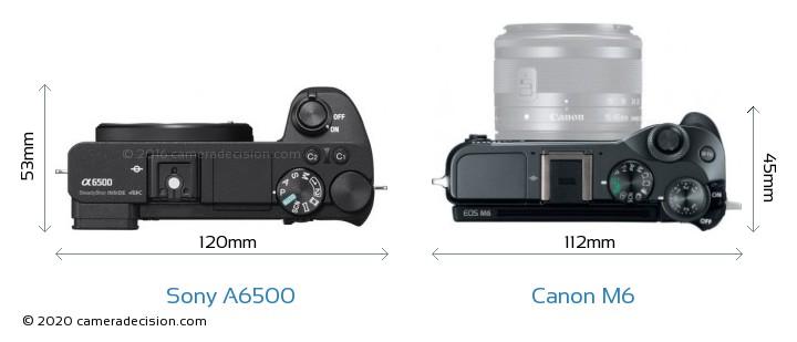 Sony A6500 vs Canon M6 Camera Size Comparison - Top View