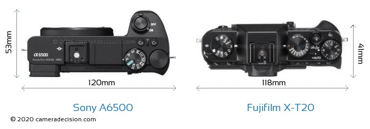 Sony A6500 vs Fujifilm X-T20 Camera Size Comparison - Top View