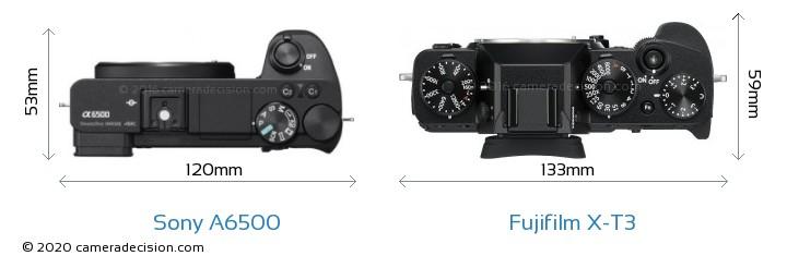 Sony A6500 vs Fujifilm X-T3 Camera Size Comparison - Top View