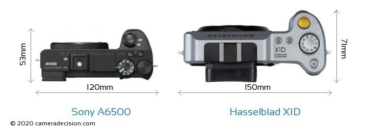 Sony A6500 vs Hasselblad X1D Camera Size Comparison - Top View