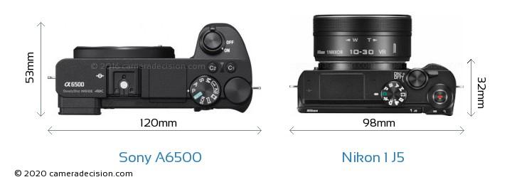 Sony A6500 vs Nikon 1 J5 Camera Size Comparison - Top View