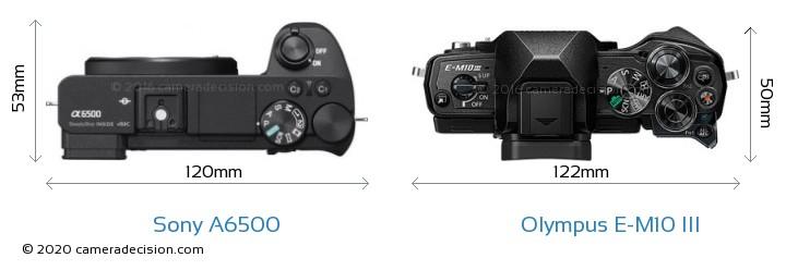 Sony A6500 vs Olympus E-M10 MIII Camera Size Comparison - Top View