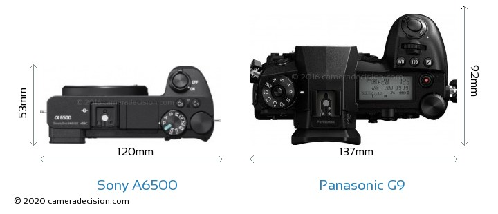 Sony A6500 vs Panasonic G9 Camera Size Comparison - Top View