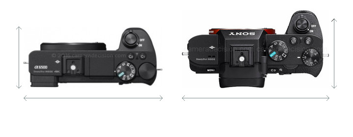 Sony A6500 vs Sony A7 II Camera Size Comparison - Top View