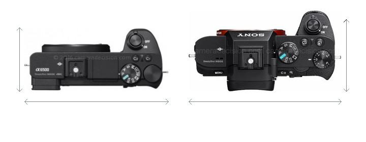 Sony A6500 vs Sony A7 II Camera Size Comparison - Top View