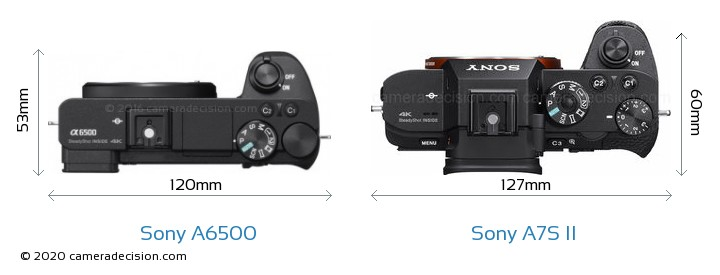 Sony A6500 vs Sony A7S II Camera Size Comparison - Top View