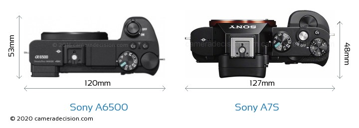 Sony A6500 vs Sony A7S Camera Size Comparison - Top View