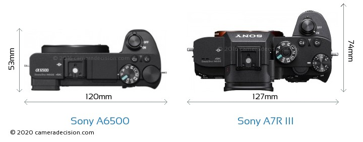 Sony A6500 vs Sony A7R III Camera Size Comparison - Top View