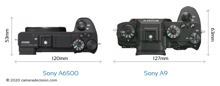 Sony A6500 vs Sony A9 Camera Size Comparison - Top View
