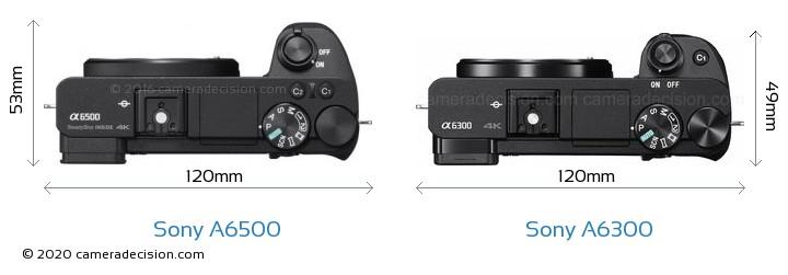 Sony A6500 vs Sony A6300 Camera Size Comparison - Top View