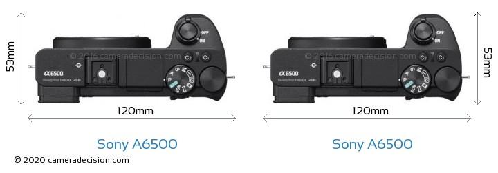 Sony A6500 vs Sony A6500 Camera Size Comparison - Top View