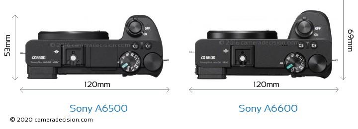 Sony A6500 vs Sony A6600 Camera Size Comparison - Top View