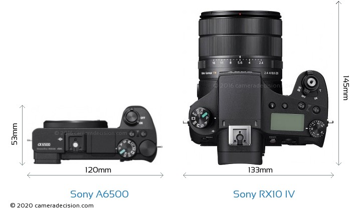 Sony A6500 vs Sony RX10 IV Camera Size Comparison - Top View