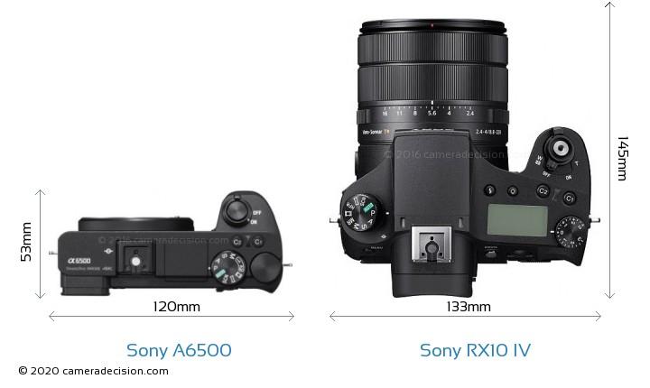 Sony A6500 vs Sony RX10 IV Camera Size Comparison - Top View