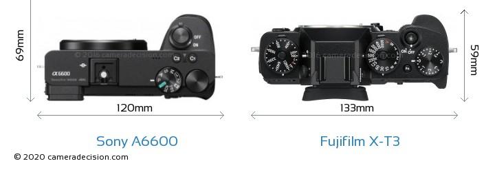 Sony A6600 vs Fujifilm X-T3 Camera Size Comparison - Top View