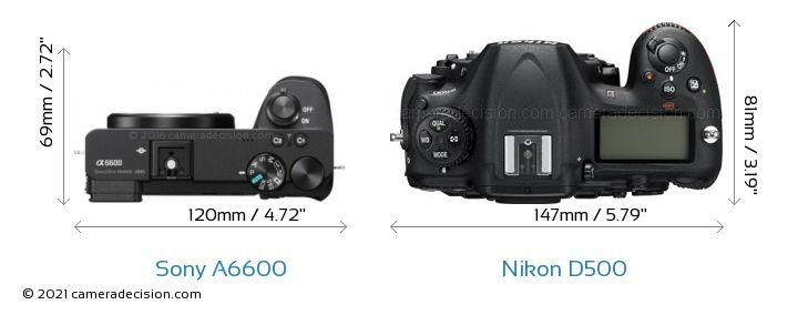 Sony A6600 vs Nikon D500 Camera Size Comparison - Top View
