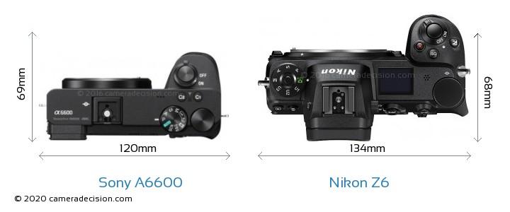 Sony A6600 vs Nikon Z6 Camera Size Comparison - Top View