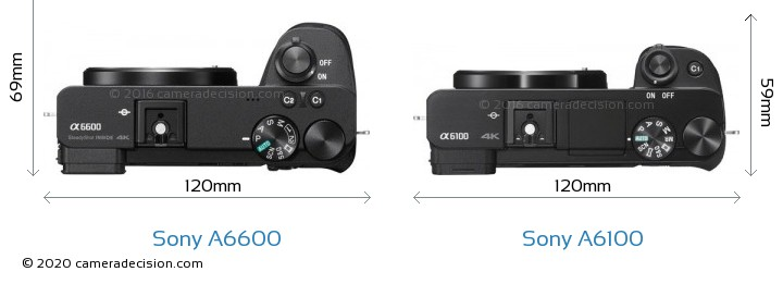 Sony A6600 vs Sony A6100 Camera Size Comparison - Top View