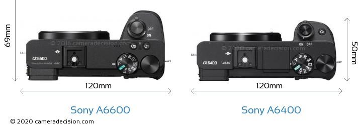 Sony A6600 vs Sony A6400 Camera Size Comparison - Top View