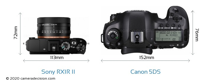 Sony RX1R II vs Canon 5DS Camera Size Comparison - Top View