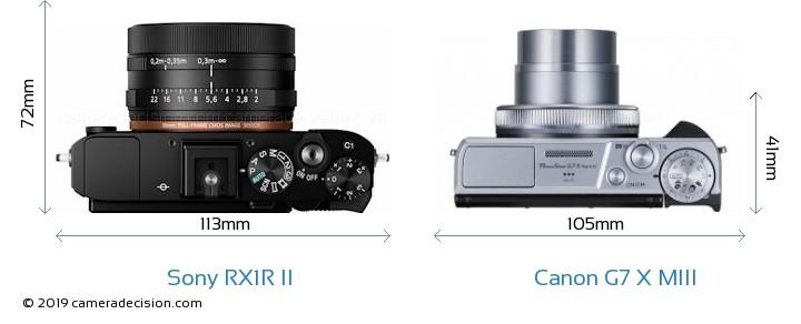 Sony RX1R II vs Canon G7 X MIII Camera Size Comparison - Top View