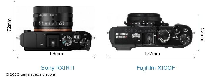 Sony RX1R II vs Fujifilm X100F Camera Size Comparison - Top View