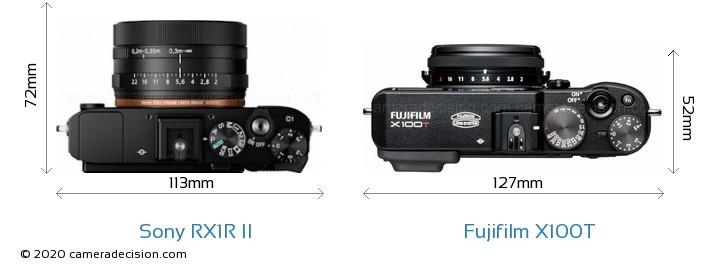 Sony RX1R II vs Fujifilm X100T Camera Size Comparison - Top View