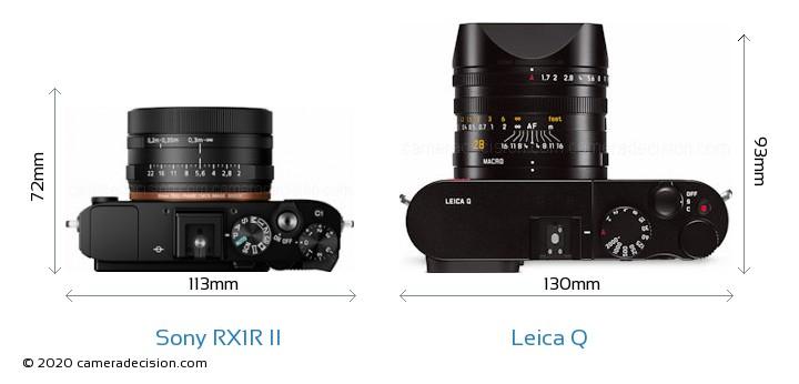 Sony RX1R II vs Leica Q Camera Size Comparison - Top View
