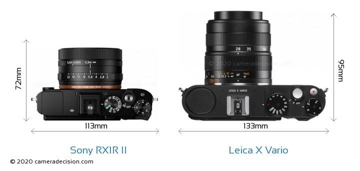 Sony RX1R II vs Leica X Vario Camera Size Comparison - Top View