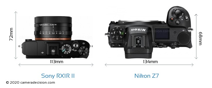 Sony RX1R II vs Nikon Z7 Camera Size Comparison - Top View