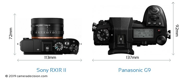 Sony RX1R II vs Panasonic G9 Camera Size Comparison - Top View