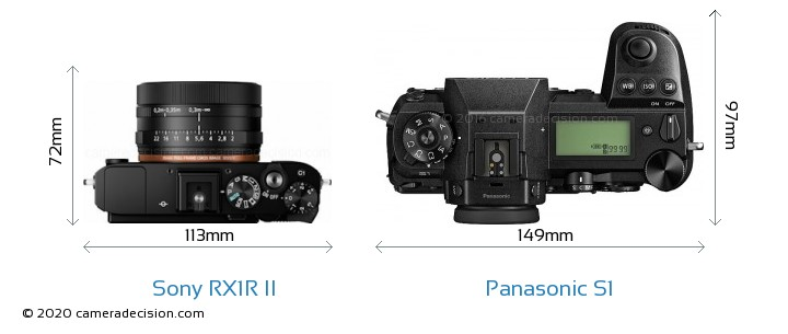 Sony RX1R II vs Panasonic S1 Camera Size Comparison - Top View