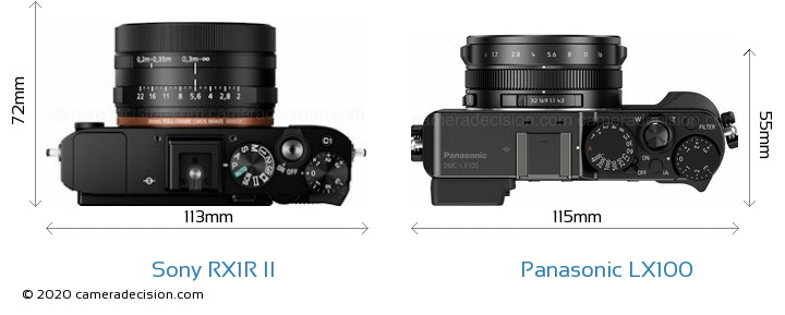 Sony RX1R II vs Panasonic LX100 Camera Size Comparison - Top View