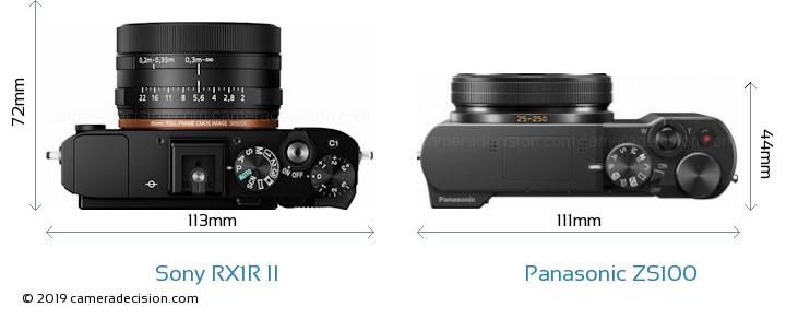 Sony RX1R II vs Panasonic ZS100 Camera Size Comparison - Top View