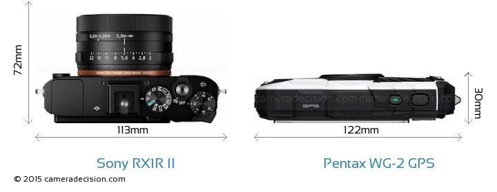 Sony RX1R II vs Pentax WG-2 GPS Camera Size Comparison - Top View