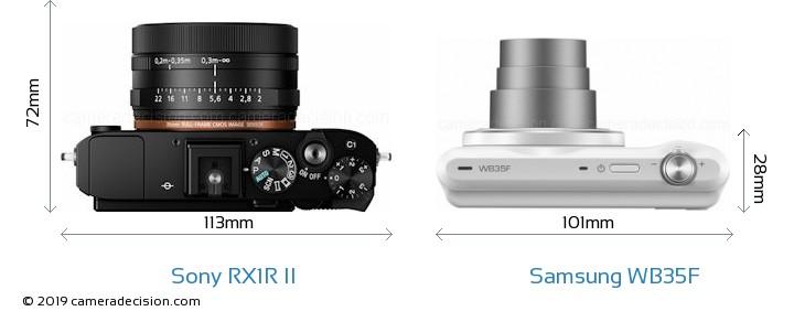 Sony RX1R II vs Samsung WB35F Camera Size Comparison - Top View