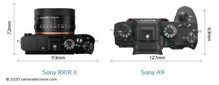 Sony RX1R II vs Sony A9 Camera Size Comparison - Top View