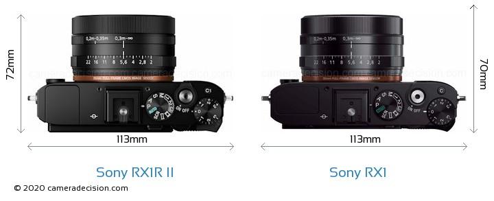 Sony RX1R II vs Sony RX1 Camera Size Comparison - Top View