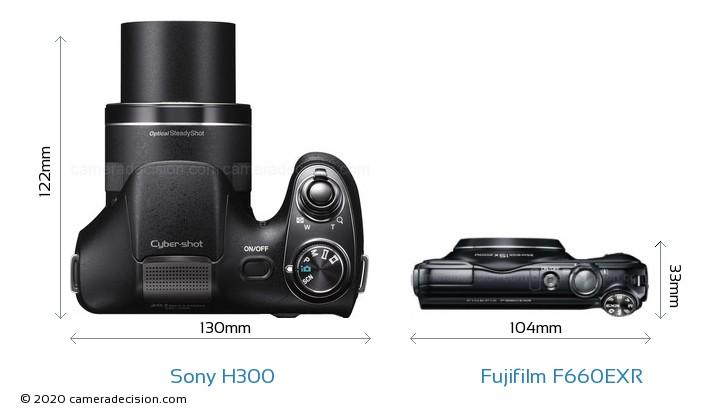 Sony H300 vs Fujifilm F660EXR Camera Size Comparison - Top View