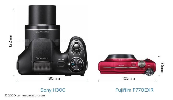 Sony H300 vs Fujifilm F770EXR Camera Size Comparison - Top View