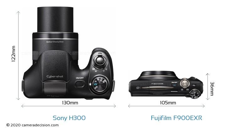 Sony H300 vs Fujifilm F900EXR Camera Size Comparison - Top View