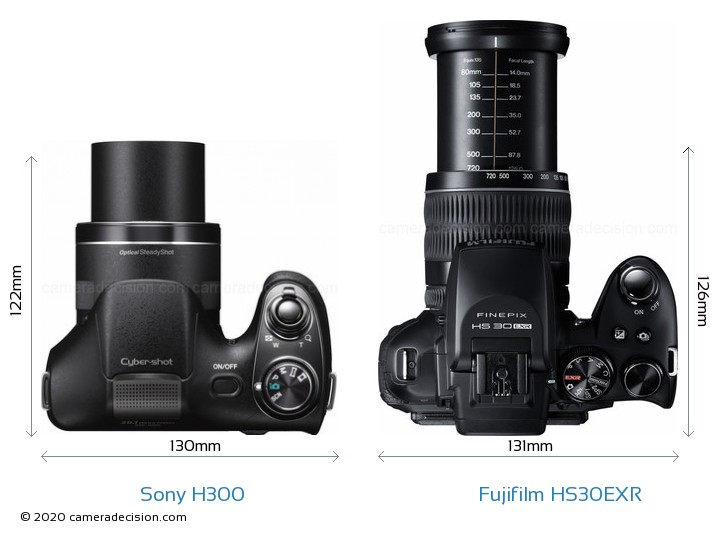 Sony H300 vs Fujifilm HS30EXR Camera Size Comparison - Top View