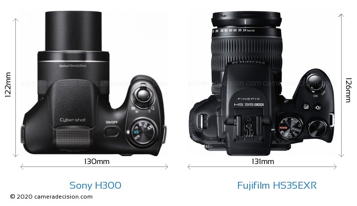 Sony H300 vs Fujifilm HS35EXR Camera Size Comparison - Top View