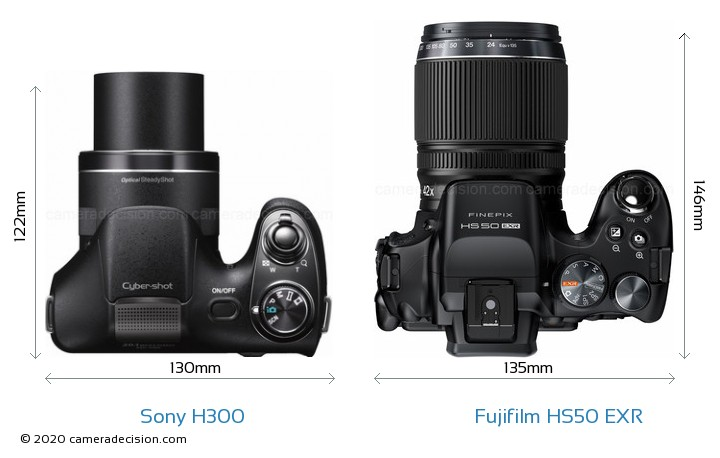 Sony H300 vs Fujifilm HS50 EXR Camera Size Comparison - Top View