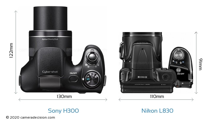 Sony H300 vs Nikon L830 Camera Size Comparison - Top View