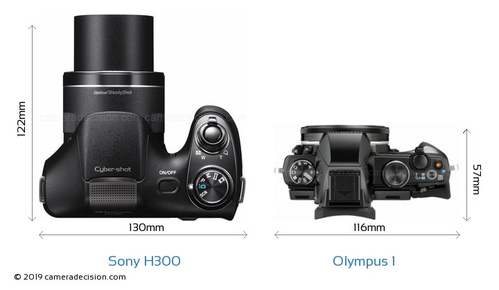 Sony H300 vs Olympus 1 Camera Size Comparison - Top View