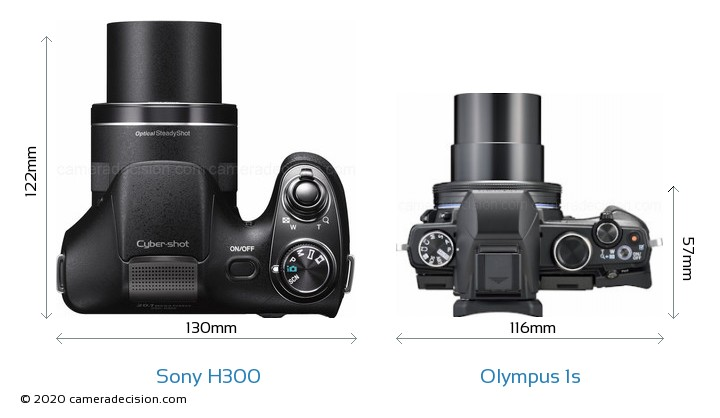 Sony H300 vs Olympus 1s Camera Size Comparison - Top View