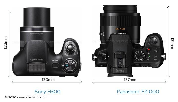Sony H300 vs Panasonic FZ1000 Camera Size Comparison - Top View